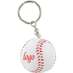 Baseball Stress Ball W/ Key Chain - 1 9/16
