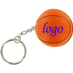 Basketball Stress Ball W/ Key Chain - 1 3/16
